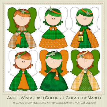 Angel Wings Irish Colors Clip Art Graphics Pkg 1