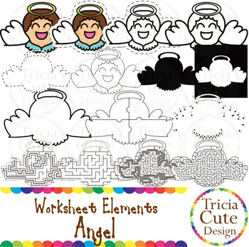 Angel Worksheet Elements Clip Art for Tracing Cutting Puzzle Maze Outline
