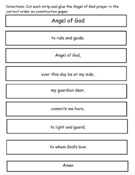 Angel of God Prayer Cut and Paste Activity