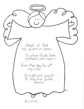 guardian angel prayer coloring pages   Angel of God prayer by Ingrid's Art   Teachers Pay Teachers