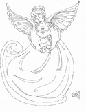 Angel of Sadness Coloring Page or Clip Art