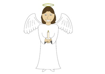 Angel with Candle Clipart for commercial use 300dpi