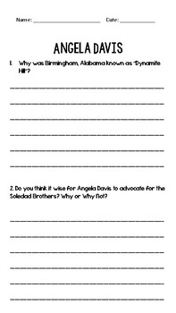 Angela Davis Biography and Question Pack