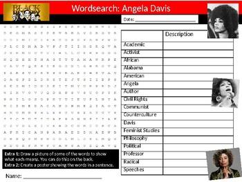 Angela Davis Wordsearch Black History Month Keywords Settler Homework Cover