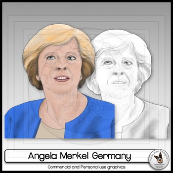 Angela Merkel Clip Art Realistic Portrait