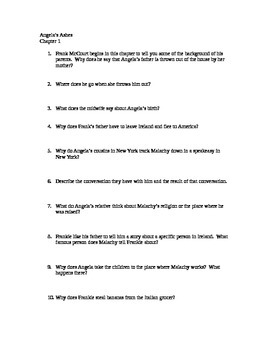 Angela's Ashes Chapter Quizzes