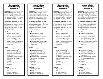 Angela's Ashes Guided Reading Bookmark