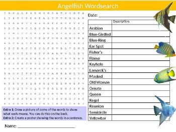 Angelfish Wordsearch Sheet Starter Activity Keywords Nature Biology