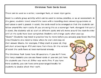 Angelic Math - Addition and Subtraction Scoot Task Cards