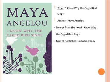 "Angelou's ""I Know Why the Caged Bird Sings"" PowerPoint"