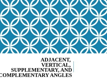 Angles - Complementary/Supplementary/Adjacent/Vertical