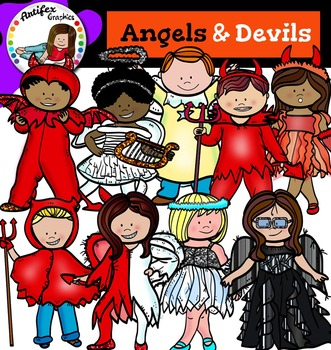 Angels & Devils- Halloween kids-color and B&W