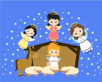 Angels Girl Clipart ,baby,donkey, baptism star cross baby Jesus religious -08-