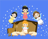 Angels Girl Clipart ,baby,donkey, baptism star cross baby Jesus religious -08-
