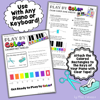 Angels Watching Over Me Color-Coded Song Sheets for Kids New to Playing Piano