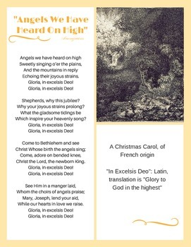 Angels We Have Heard on High: Classical song and writing assignment