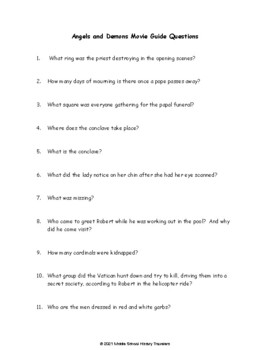 Angels and Demons Movie Guide Questions (Dan Brown, Da Vinci Code series)