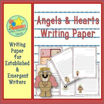 Writing Paper Templates - Angels and Hearts Theme