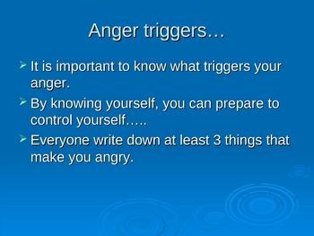 Anger Awareness & Education with Writing Assignment.