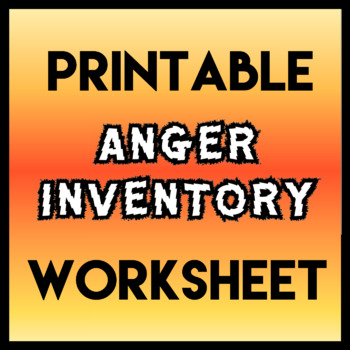 Anger Inventory By Social Workings Teachers Pay Teachers