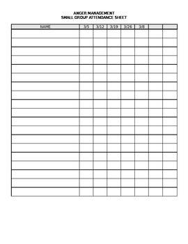 Anger Management Attendance Sheet