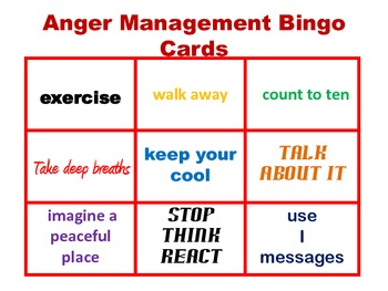 photograph regarding Anger Management Printable Worksheets identified as Anger Handle Bingo