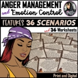 Anger Management Scenario Task Cards and Worksheets (Print