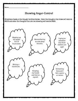 Anger Management: Showing Anger-Control worksheet