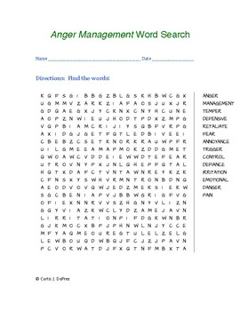 Anger Management Vocabulary Word Search