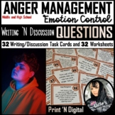 Anger Management Writing Prompt Task Cards and Worksheets