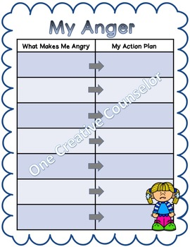 Anger Worksheet Printable by One Creative Counselor | TpT