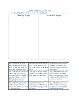 Anger Worksheets for Teens by In-home counseling resources ...