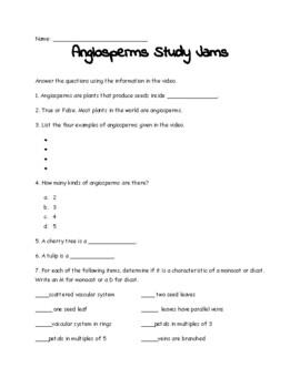 Angiosperms Study Jams