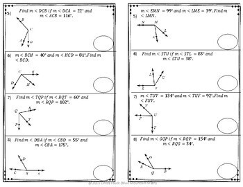 Angle Addition Partner Practice