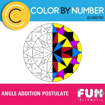 Angle Addition Postulate Color by Number