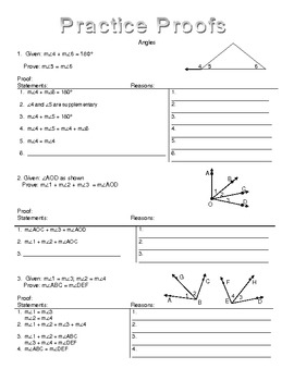 Angle Addition Postulate Proofs by Kim Tallud | Teachers Pay Teachers