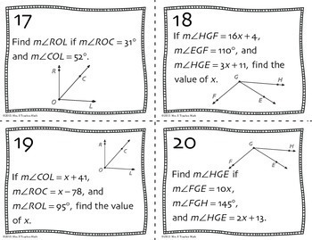 Angle Addition Postulate Task Cards