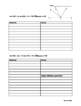 Angle Addition Proofs Worksheet