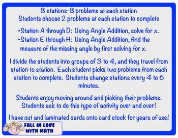 Angle Addition Postulate Station Activity!