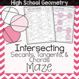 Angle & Arc Measures Created by Intersecting Secants, Tangents, & Chords Maze