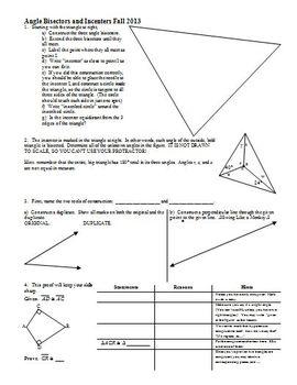 Angle Bisectors and Incenters Fall 2013 (Editable)