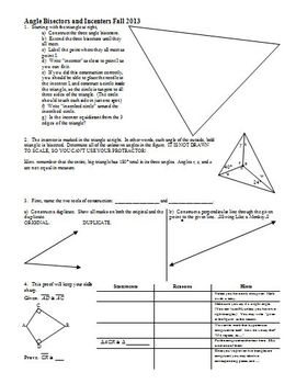 Angle Bisectors and Incenters Fall 2013