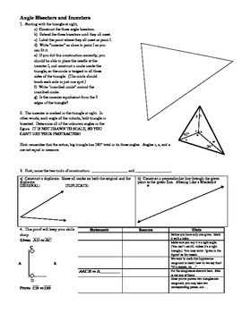 Angle Bisectors and the Incenter - Geometry constructions worksheet (Editable)