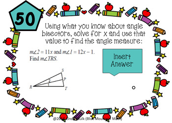 Angle Bisectors in Triangles Boom Cards plus printable task cards