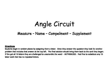 Angle Circuit (Measuring, Naming, Complements, Supplements