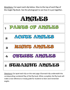Angle Flip Book, Angles, Acute, Obtuse, Right, Straight
