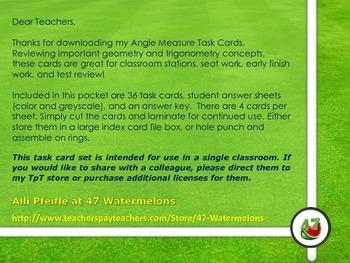 "Angle Measure Task Cards - ""Soccer"""