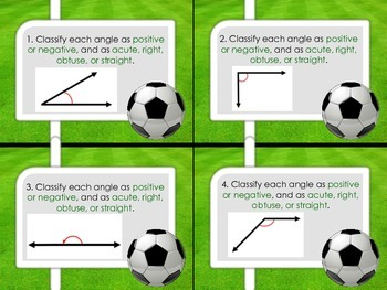 "Angle Measure Task Cards - ""Soccer"""