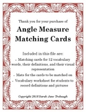 Angle Measure Vocabulary Matching Cards