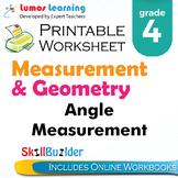 Angle Measurement Printable Worksheet, Grade 4